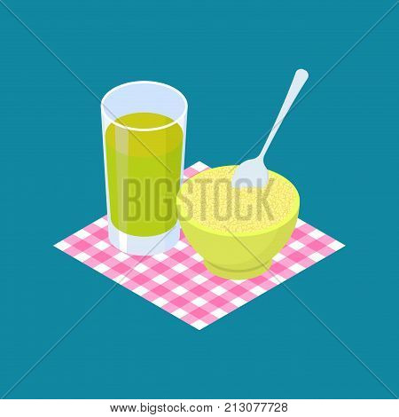Couscous Porridge and fruit juice. Breakfast Healthy food. Vector illustration