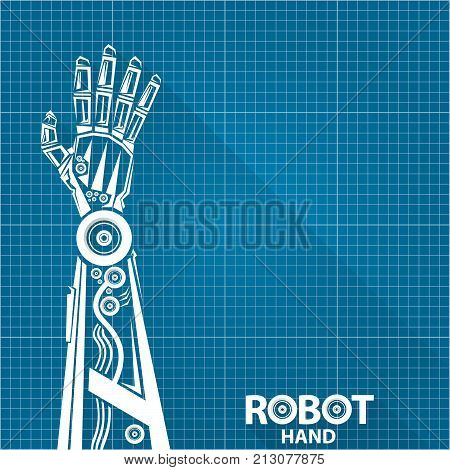 Vector robotic arm symbol on vector photo bigstock vector robotic arm symbol on blueprint paper background robot hand technology background design template malvernweather Choice Image
