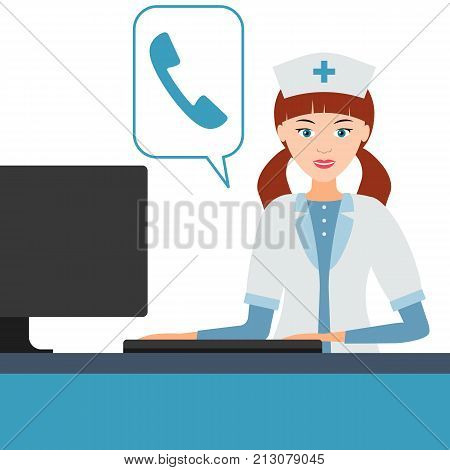 Female medical professional doctor or nurse answers the phone or video calls. Manager the receptionist at the clinic. Vector illustration.