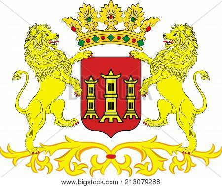 Coat of arms of Lingen is a town in Lower Saxony Germany. Vector illustration