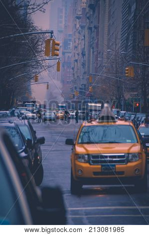 Evening view of the 5th ave, New York City