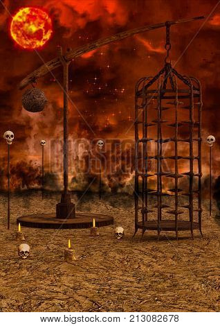 Apocalyptic landscape with a cage and bones. 3D Illustration.