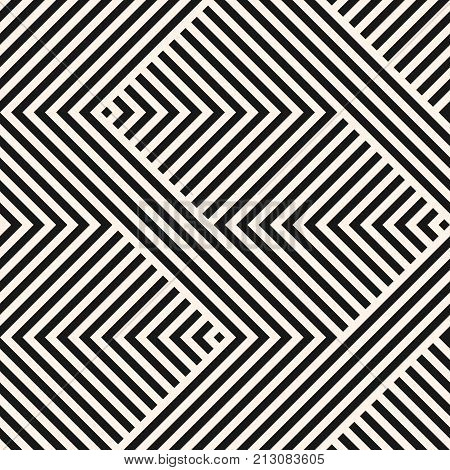 Vector geometric lines pattern. Abstract graphic striped ornament. Simple black and white stripes, zigzag shapes. Modern stylish monochrome linear background. Repeat design for decor, covers. Zigzag pattern. Herringbone pattern. Stripy pattern.