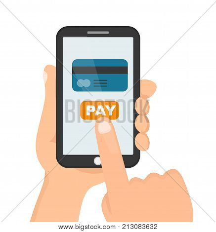 Man holding phone smartphone in hand for online shopping web site.Mockup template. Vector flat cartoon character illustration icon design.Isolated on white background. Card online shop payment concept