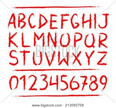 Blood hand drawn horror, scary letters and numbers font. marker. Grunge font, Sans serif. Vector design. Isolated on white background. blood alphabet written ink, brush. calligraphy, lettering