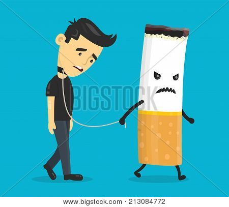 Cigarette leads to a chain of a young man. Smoking slave, nikotine, cigarette addiction.Vector flat cartoon character illustration icon design. Isolated on blue background.