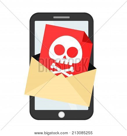 Letter with a computer virus in smartphone mobile. Vector flat cartoon character illustration icon design. Isolated on white background. Danger, phone message, computer virus concept