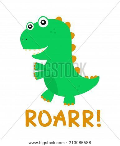 Cute happy smiling funny dinosaur. Vector flat cartoon character illustration icon design.Isolated on white background. dinosaur print design for t-shirt,card concept
