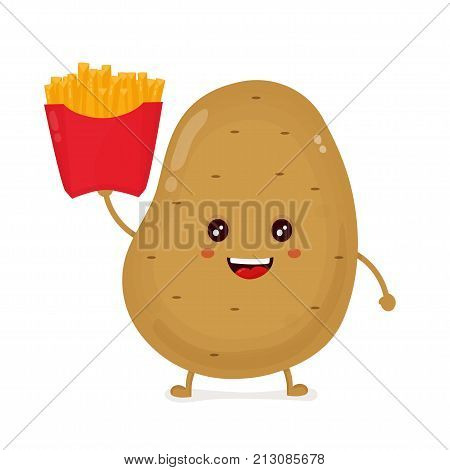Cute happy smiling funny potato with French fries box. Vector flat cartoon character illustration icon design.Isolated on white background. potato vegetable,French fries