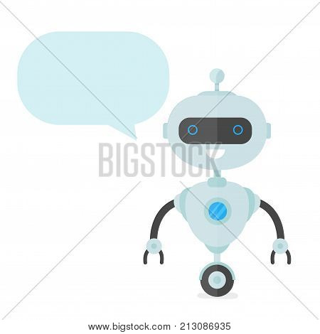 Cute happy smiling funny robot chat bot with with talking dialog bubble speech.Vector flat cartoon character illustration icon design.Isolated on white background. Smart robot bot concept