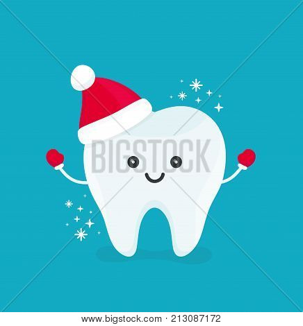Cute happy smiling funny tooth with christmas hat.Vector modern flat style cartoon character illustration.Isolated on blue background.Clear tooth kid children christmas concept for dental dentist card