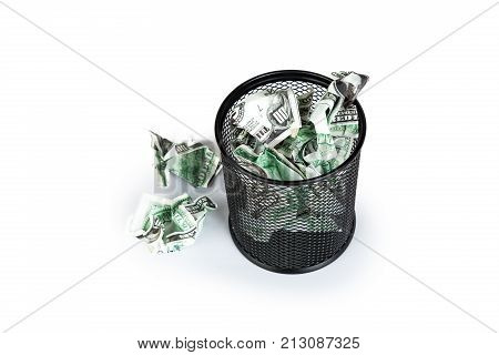 Dollar Banknotes Inside Rubbish Bin