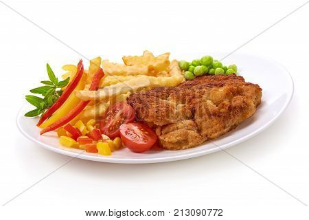 Wiener Schnitzel With Potatoes Fries, Isolated On White Background