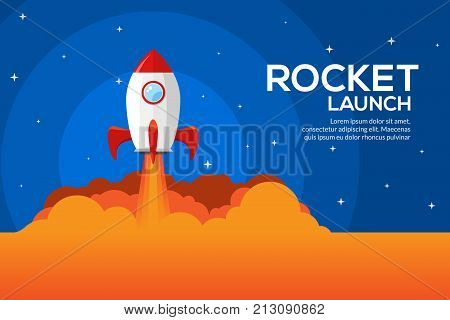 Rocket launch illustration. Product business launch concept design ship vector technology background.