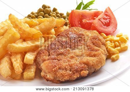 Wiener Schnitzel With Potato Fries, Isolated On White Background.