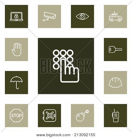 Collection Of Walkie-Talkie, Open, Helmet And Other Elements.  Set Of 13 Security Outline Icons Set.