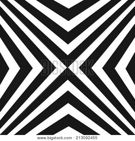 Vector seamless pattern, black and white stripes. Texture with crossing diagonal striped lines. Optical illusion effect. Monochrome geometric background, repeat tiles. Modern design element. Stripes background. Lines background. Seamless background.