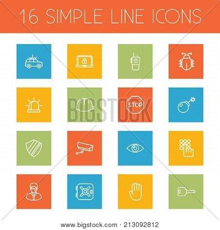 Collection Of Helmet, Walkie-Talkie, Alarm And Other Elements.  Set Of 16 Security Outline Icons Set.