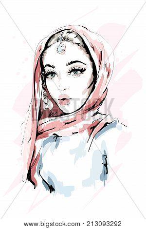 Beautiful Muslim Woman Wearing Hijab. Fashion woman portrait. Stylish lady. Sketch. Vector illustration.