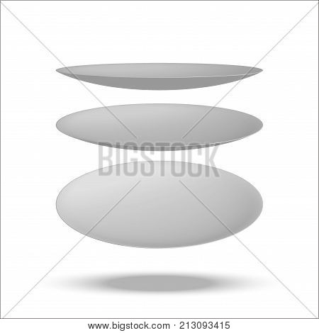 Realistic vector illustration plate. Isolated on white background. View from above. Set of empty white plates and bowls. Kitchen utensils. 3d mock up