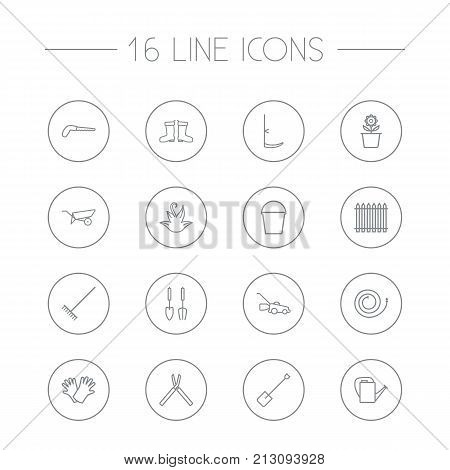 Collection Of Bailer, Plant Pot, Safer Of Hand Elements.  Set Of 16 Household Outline Icons Set.