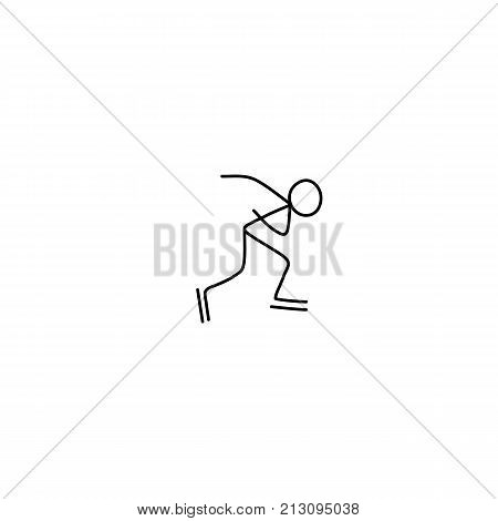 Stick figure skater sketch. Black and white drawing , white background