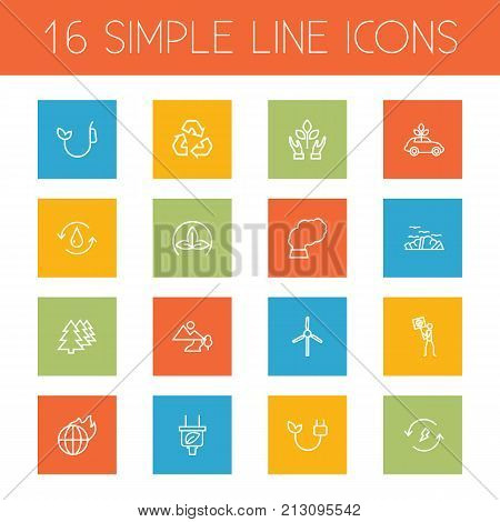 Collection Of Ecol, Recycling, Plug And Other Elements.  Set Of 16 Ecology Outline Icons Set.
