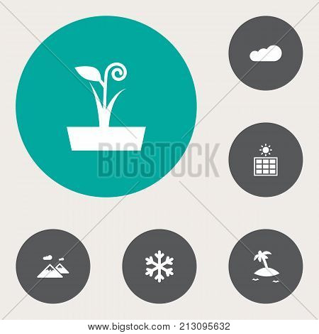 Collection Of Pinnacle, Overcast, Isle Beach And Other Elements.  Set Of 6 Natural Icons Set.