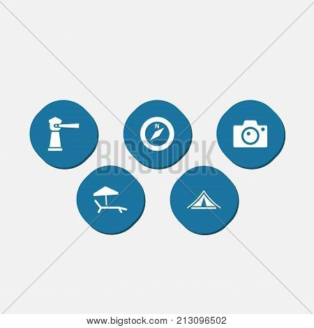 Collection Of Seamark, Booth, Photo Apparatus And Other Elements.  Set Of 5 Journey Icons Set.