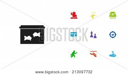 Collection Of Disco, Caravan, Checkmate And Other Elements.  Set Of 10 Entertainment Icons Set.