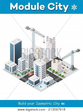 Construction crane heavy industrial industry with skyscrapers, houses, streets. Urban modern quarter of the city. Isometric view of the projection of a winter landscape