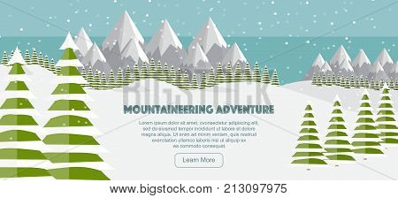 Vector flat mountains panoramic illustration. Mountaineering adventure winter banner web design. High mountains fir trees ski trail snowfall. Alps wide panoramic background. Mountains winter, Swiss Alps, mountaineering.