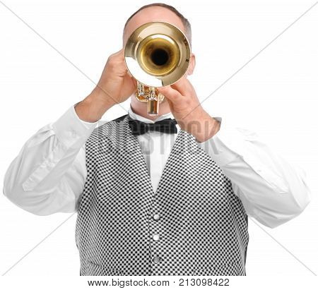 Man playing on trumpet, trumpet covering his face, in shirt and gray goblet, isolated on white background