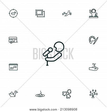 Collection Of Fishing, Camping, Dj And Other Elements.  Set Of 13 Lifestyle Outline Icons Set.