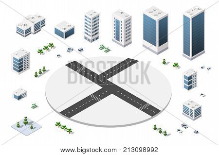A large set of isometric urban objects. A set of urban buildings, skyscrapers, houses, supermarkets, roads and streets