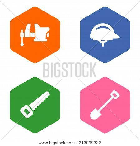Collection Of Clamp, Hacksaw, Hardhat And Other Elements.  Set Of 4 Architecture Icons Set.
