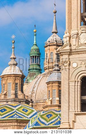 The Cathedral-basilica Of Our Lady Of Pillar - A Roman Catholic Church, Zaragoza, Spain. Close-up.