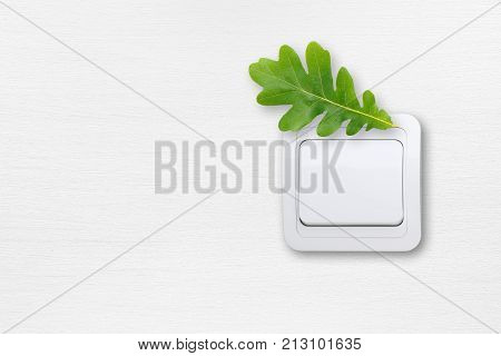 Saving energy concept - light switch on white wall with green oak leaf
