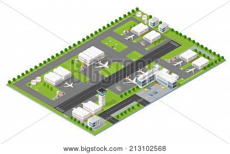 Isometric 3D city airport with transport aircraft and the runway. Skyscrapers houses and streets with urban traffic movement of the car with trees and nature