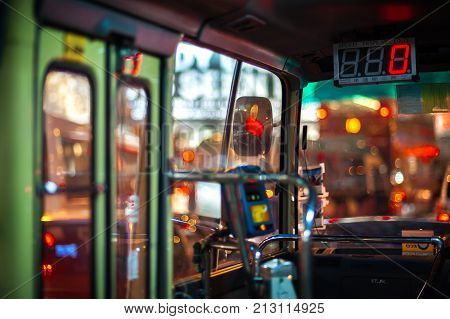 HONG KONG - SEPT 1, 2013 - Interior of a Hong Kong public light bus. The fast and efficient public light bus is a ubiquitous sight on Hong Kong's busy streets.