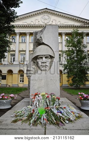 MOSCOW, RUSSIA - SEPT 4, 2011 - War memorial and flowers outside the Moscow State Linguistic University