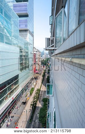 KOWLOON HONG KONG - MARCH 19 2014 - Looking along Nathan Road from the 13th floor of Chungking Mansions Kowloon