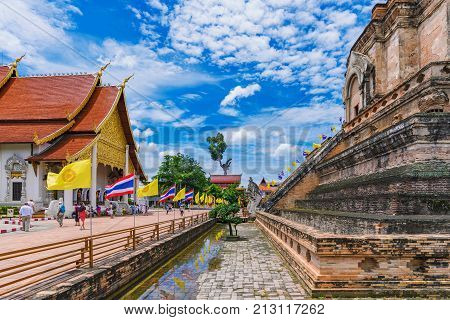 CHIANG MAI THAILAND - JULY 26: This is the architecture of the famous Wat Chedi Luang temple which is a popular landmark in the historic centre on July 26 2017 in Chiang Mai