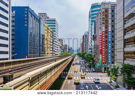 TAIPEI TAIWAN - JUNE 09: This is the downtown area of Nanjing fuxing where many office buildings and hotels are situated on June 09 2017 in Taipei
