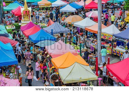 SRIRACHA THAILAND - AUGUST 03: This is a large local market which sells street food vegetables and other goods on August 03 2017 in Sriracha