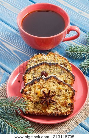 Cup Of Coffee, Fresh Baked Homemade Fruitcake For Christmas And Spruce Branches