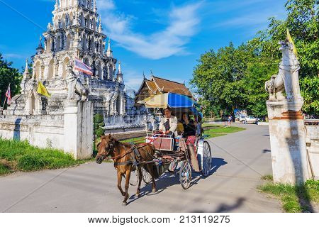 CHIANG MAI THAILAND - JULY 27: This is a horse drawn carriage in the Wat Chedi Liam temple which is used to transport tourists to different temples in the area on July 27 2017 in Chiang Mai
