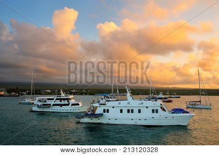 Boats Anchored In Academy Bay Near Puerto Ayora On Santa Cruz Island, Galapagos National Park, Ecuad