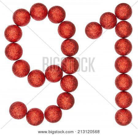Numeral 91, Ninety One, From Decorative Balls, Isolated On White Background