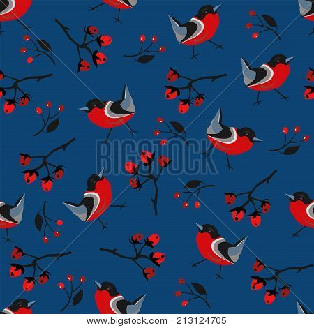 Bird Seamless Pattern. Bullfinch birds on a background with red berries of rowan and brier. Winter/Merry Christmas Collection.Vector Illustration.